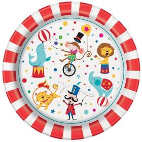 Circus Carnival Party Plates 23cm, pk8