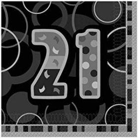 Black Glitz 21st Birthday Party Napkins 16pk