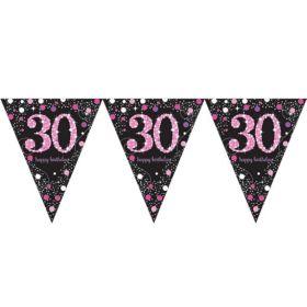 Pink Sparkling Celebration 30th Birthday Flag Banner 4m