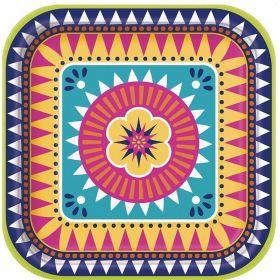 Boho Mexican Fiesta Plates 23cm, pk8
