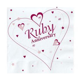 Ruby Anniversary Luncheon Napkins 33cm x 33cm, pk20