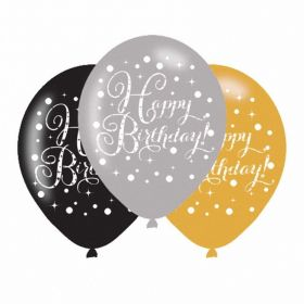 Gold Sparkling Celebration Happy Birthday Latex Balloons, pk6