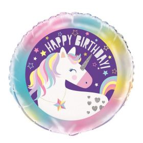 Unicorn Birthday Foil Balloon 18""
