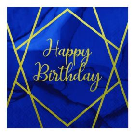 Navy & Gold Geode Party Happy Birthday Napkins 33cm x 33cm, pk16