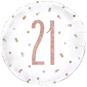 Glitz Rose Gold Age 21 Foil Balloon 18""