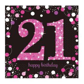 Pink Sparkling Celebration 21st Napkins 33cm x 33cm, pk16