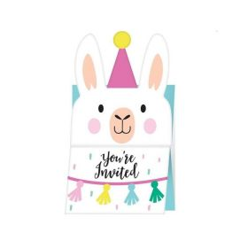 Llama Pastel Party Invitations, pk8