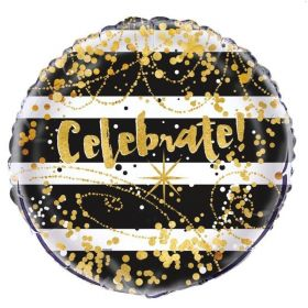"Black & Gold Celebrate Foil Balloon 18"""