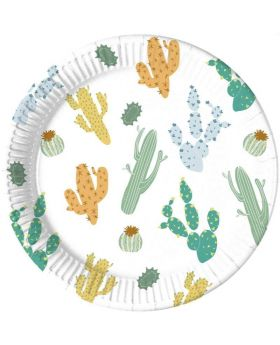 Cacti Party Plates 23cm, pk8