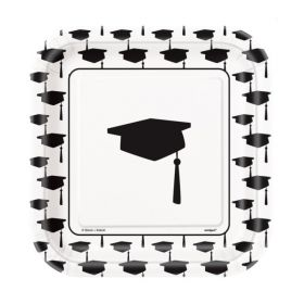 "10 Simply Graduation 7"" Square Plates"
