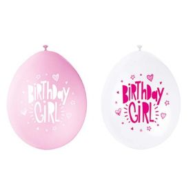 "Happy Birthday Girl Latex Balloons 9"", pk10"