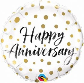 Happy Anniversary Gold Dots Foil Balloon 18''