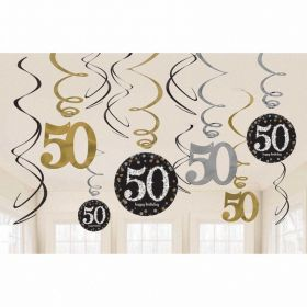 Gold Sparkling Celebration 50th Swirl Decoration Value Packs - pk12