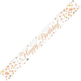 Rose Gold Sparkling Happy Birthday Foil Banner 2.8m