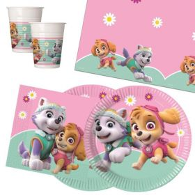 Pink Paw Patrol Party Tableware Pack for 16