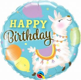 Llama Happy Birthday Foil Balloon 18""