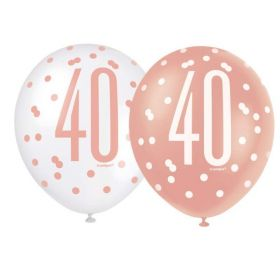 "Glitz Rose Gold Age 40 Latex Balloons 12"", pk6"