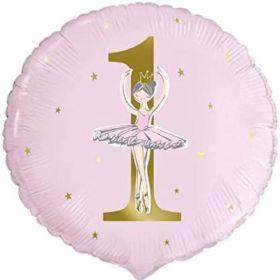 "Ballerina Pink & Gold 1st Birthday Party Foil Balloon 18"""