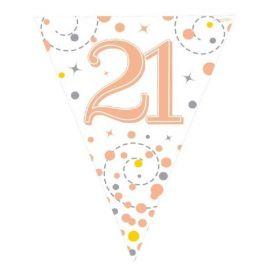 Rose Gold Sparkling Dots 21st Birthday Flag Banner 3.9m