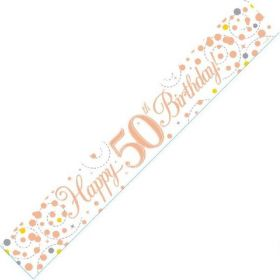 Rose Gold Sparkling 50th Birthday Foil Banner 2.8m