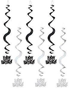 Black Glitz Happy Birthday Hanging Swirl Party Decoration (6 Strings)