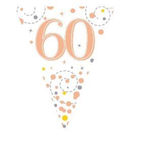 Rose Gold Sparkling Dots 60th Birthday Flag Banner 3.9m