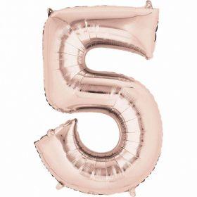Rose Gold Number 5 SuperShape Foil Balloon
