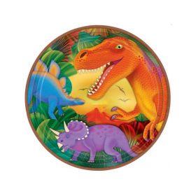 Dinosaur (Prehistoric) Metallic Party Plates 22.8cm, pack of 8