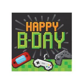 Gaming Party Happy Birthday Napkins 33cm x 33cm, pk16