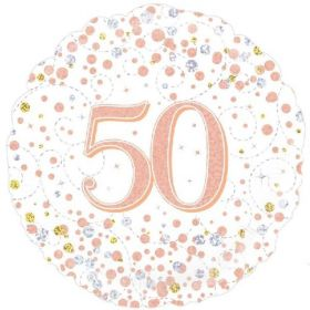 Rose Gold Sparkling Dots 50th Birthday Foil Balloon 18""