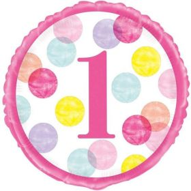 Pink Dots 1st Birthday Foil Balloon 18""