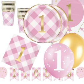 Pink Gingham 1st Birthday Party Deluxe Pack for 16