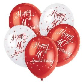 "Happy 40th Anniversary Latex Balloons 12"", pk5"