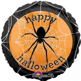 Happy Halloween Spooky Spider Web Foil Balloon 18""