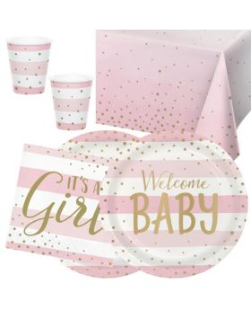 Pink and Gold Baby Shower Party Tableware Pack for 16