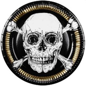 Black & Gold Pirate Party Plates 23cm, pk6