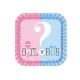 Gender Reveal Square Plates 9'' pk8