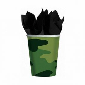 Camouflage Paper Cups 266 mls, pk8