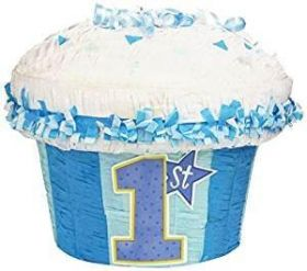 1st Cupcake Blue Party Pinata