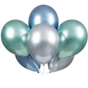Blue, Green & Silver Platinum Latex Balloons 11""