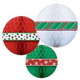 Christmas Honeycomb Ball Decorations, pk3