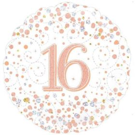 """Rose Gold Sparkling Dots 16th Birthday Foil Balloon 18"""""""