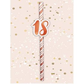 Rose Gold 18th Birthday Paper Straws, pk6