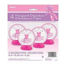 Pink Ballerina Mini Honeycomb Decorations pk4