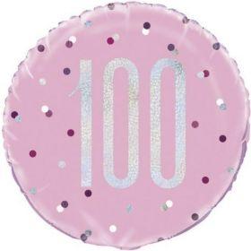 "Glitz Pink Age 100 Foil Balloon 18"""