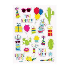 Llama Birthday Party Stickers Sheet, pk4