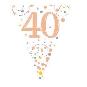 Rose Gold Sparkling Dots 40th Birthday Flag Banner 3.9m
