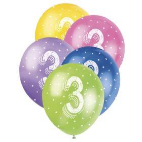 Age 3 Birthday Latex Balloons 12''