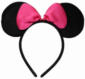Black Minnie Mouse Ears with Pink Bow