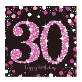 Pink Sparkling Celebration 30th Napkins 33cm x 33cm, pk16